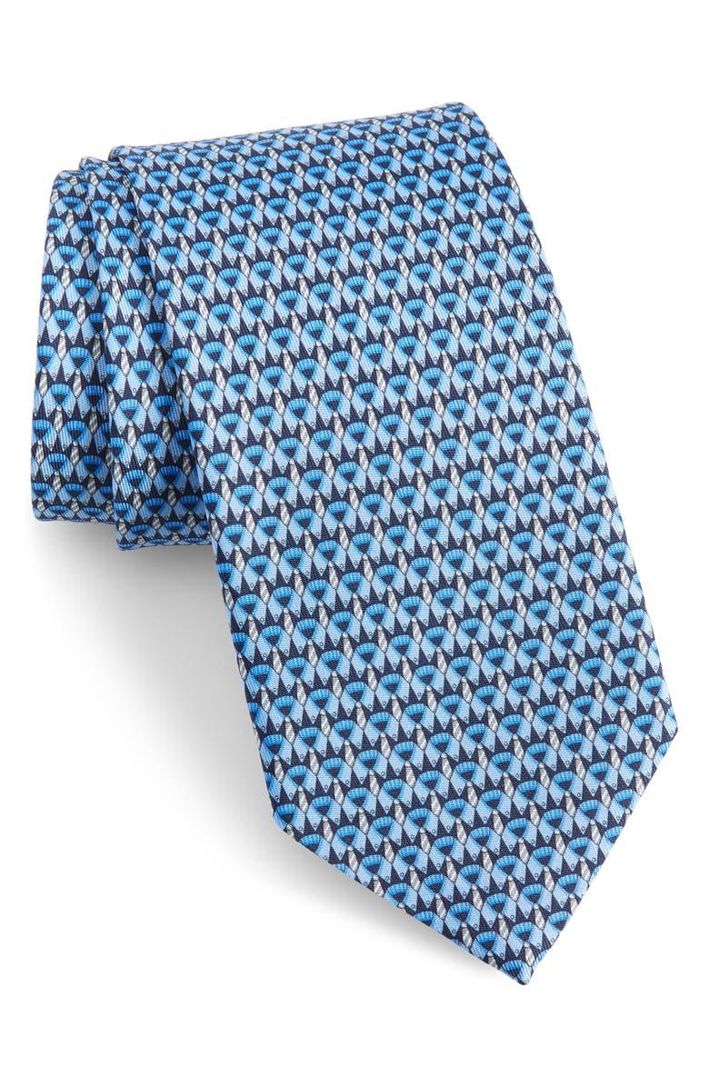 SALVATORE FERRAGAMO Image Print Silk Tie, Main, color, F.MARINO