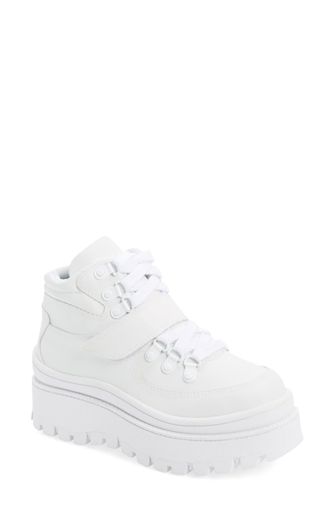 Top-Peak Hiker Boot, Main, color, WHITE LEATHER