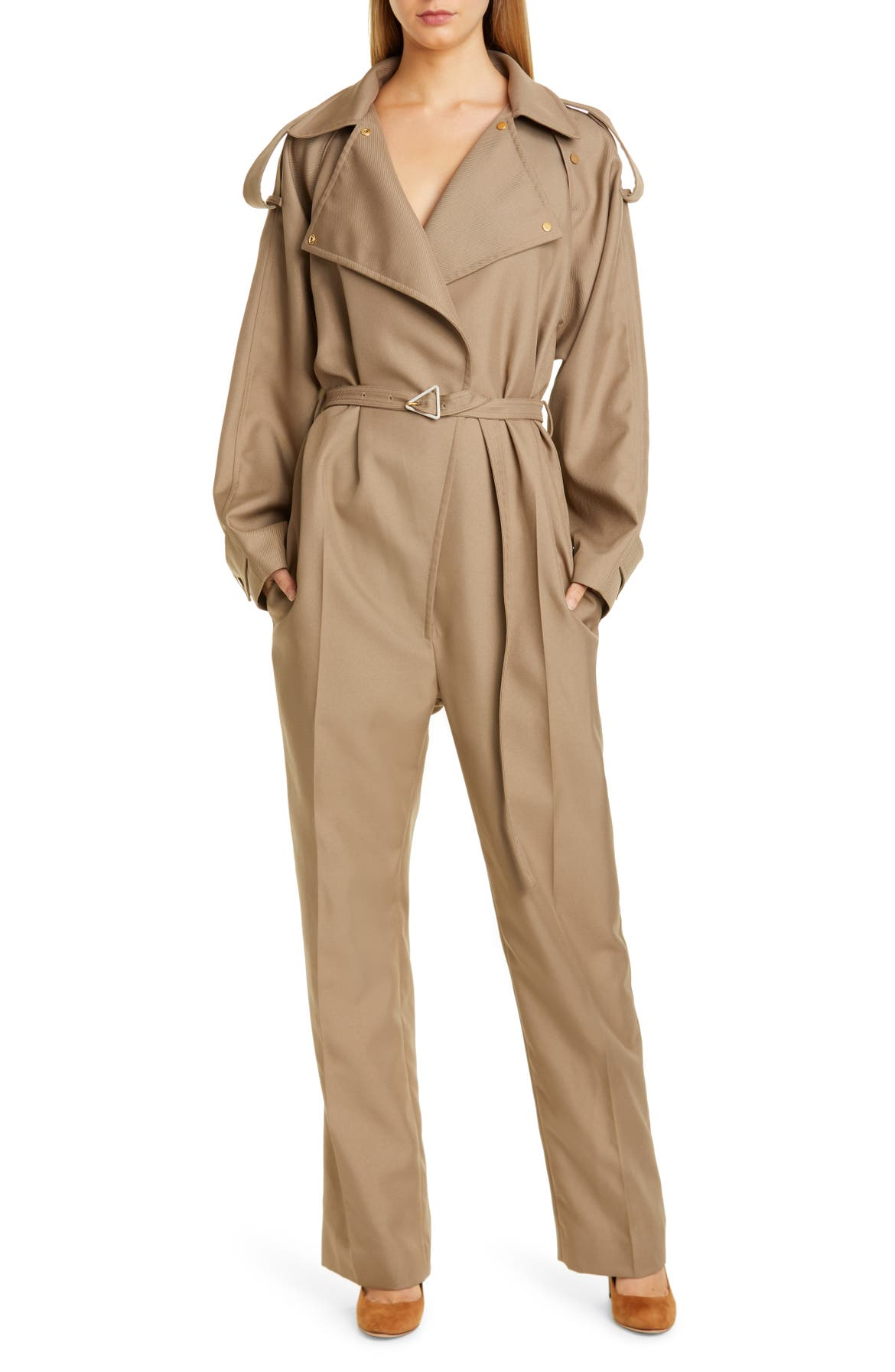 BOTTEGA VENETA Belted Tricot Jumpsuit, Main, color, 9766 DARK SAND