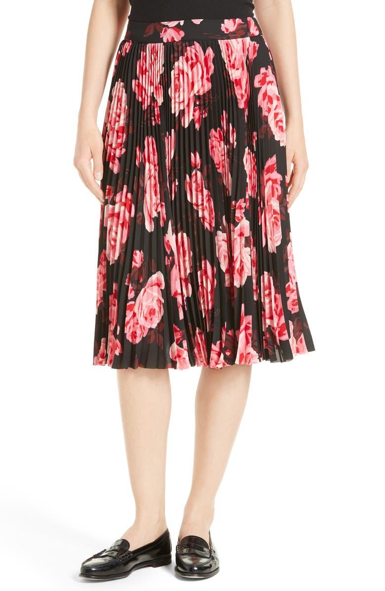 KATE SPADE NEW YORK rosa pleated midi skirt, Main, color, 006