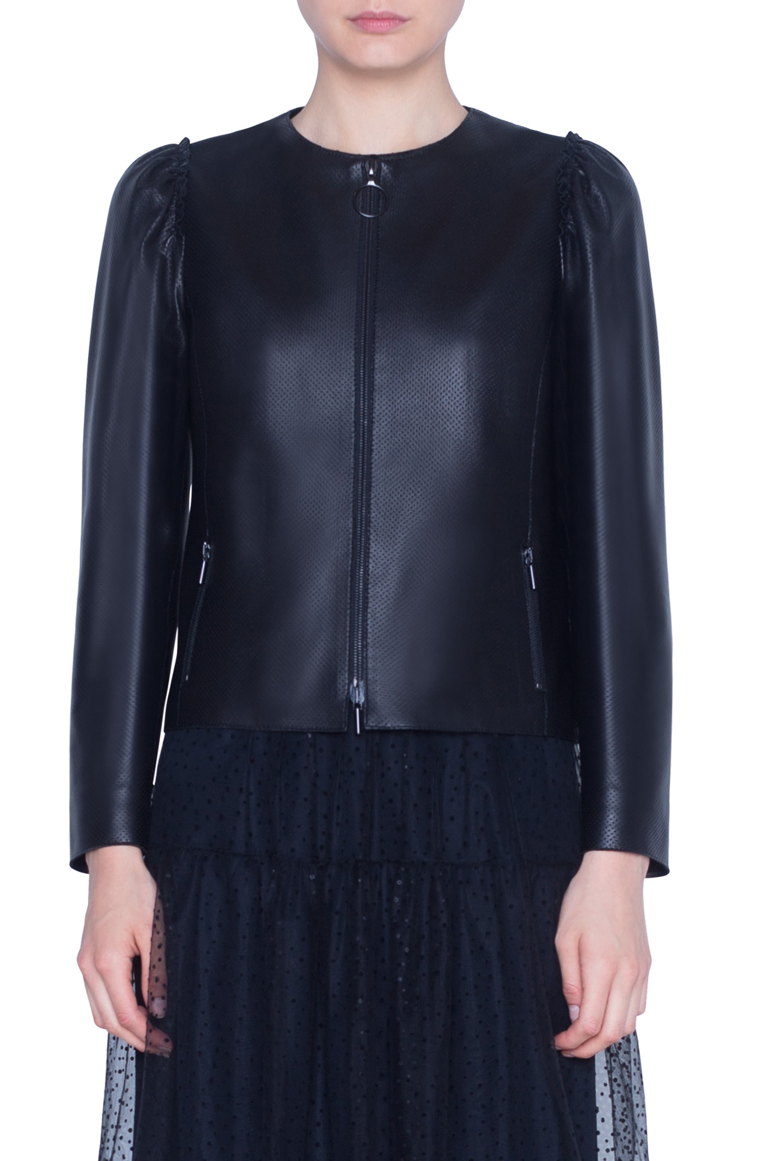 Ruffly, puffed shoulders soften the sleek look of a collarless jacket crafted from perforated nappa leather with a signature ring-pull zip. Style Name: Akris Punto Perforated Leather Jacket. Style Number: 5873198. Available in stores.