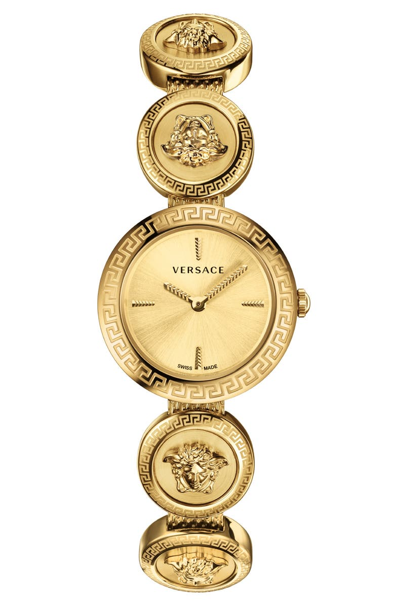 VERSACE Medusa Stud Icon Bracelet Watch, 28mm, Main, color, GOLD
