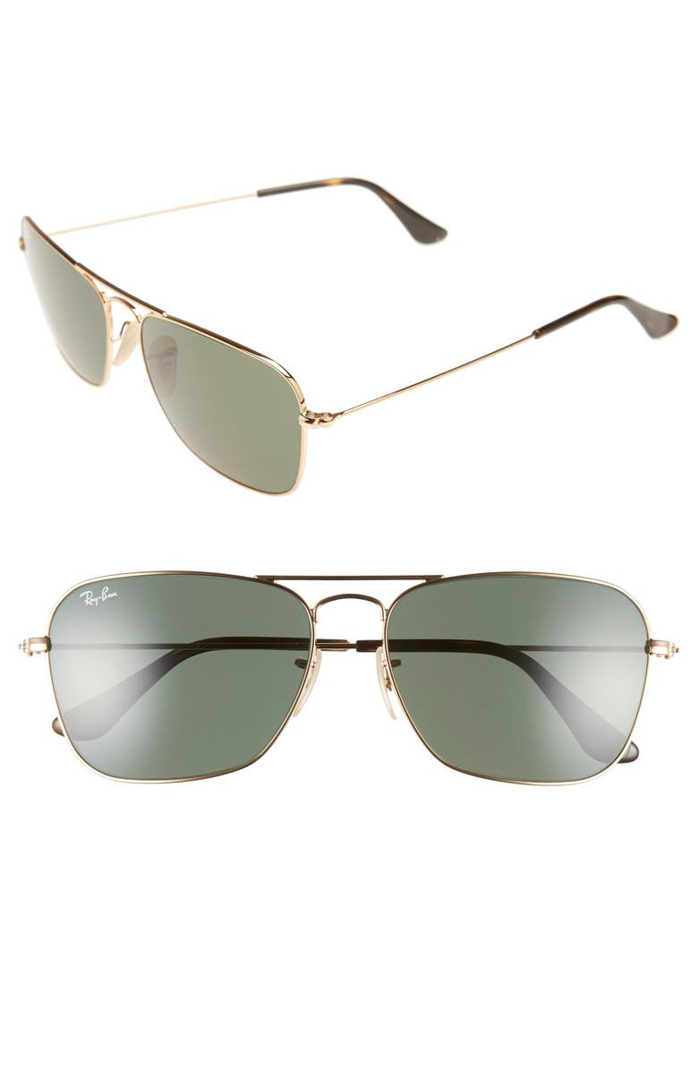 RAY-BAN Caravan 58mm Aviator Sunglasses, Main, color, GOLD/ DARK GREEN