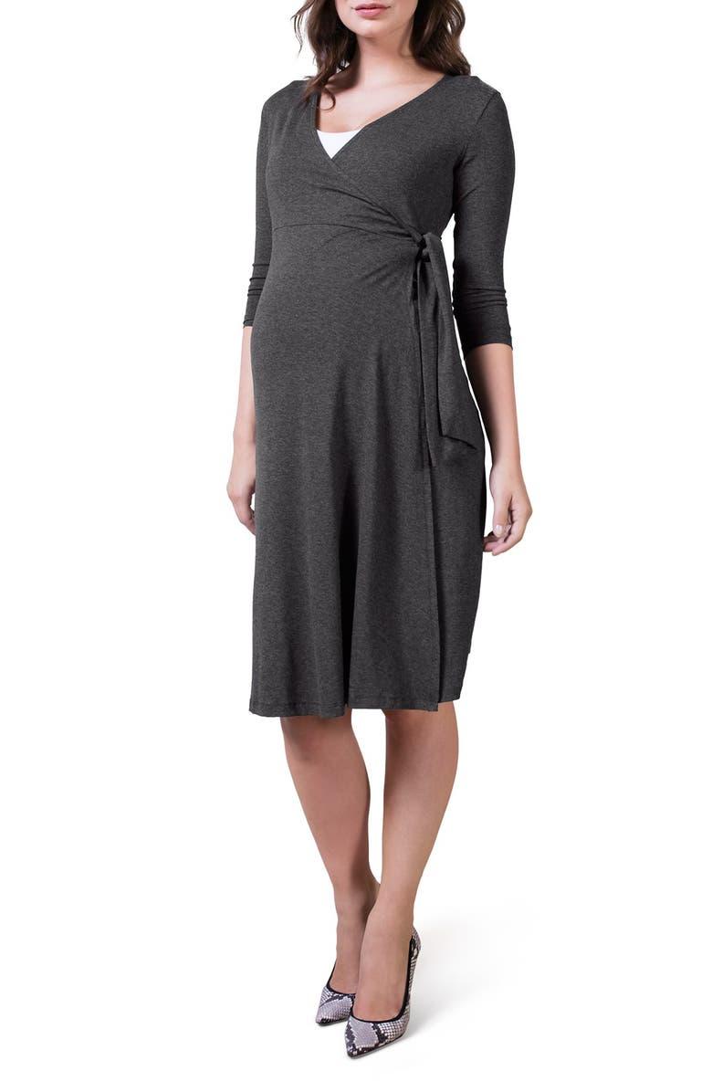 ISABELLA OLIVER 'Neale' Maternity/Nursing Wrap Dress, Main, color, DARK GREY MARL