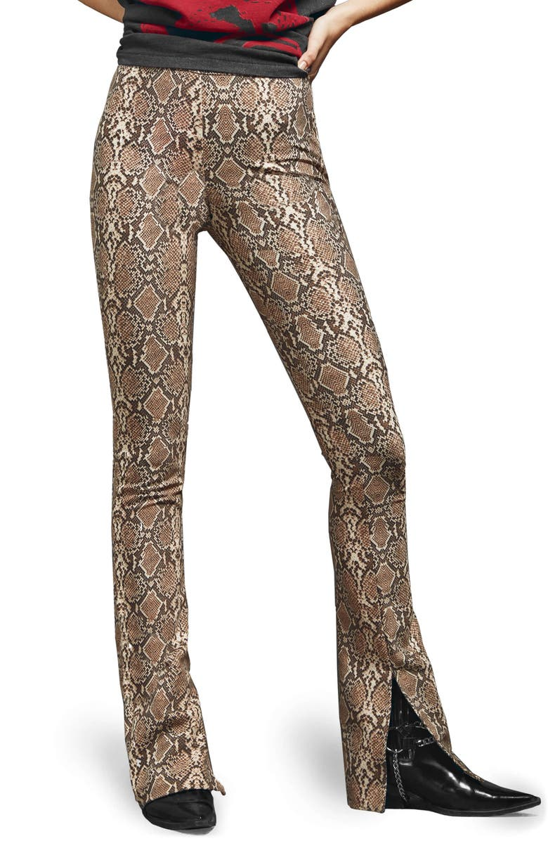 ANINE BING Python Print Split Cuff Cigarette Pants, Main, color, 236