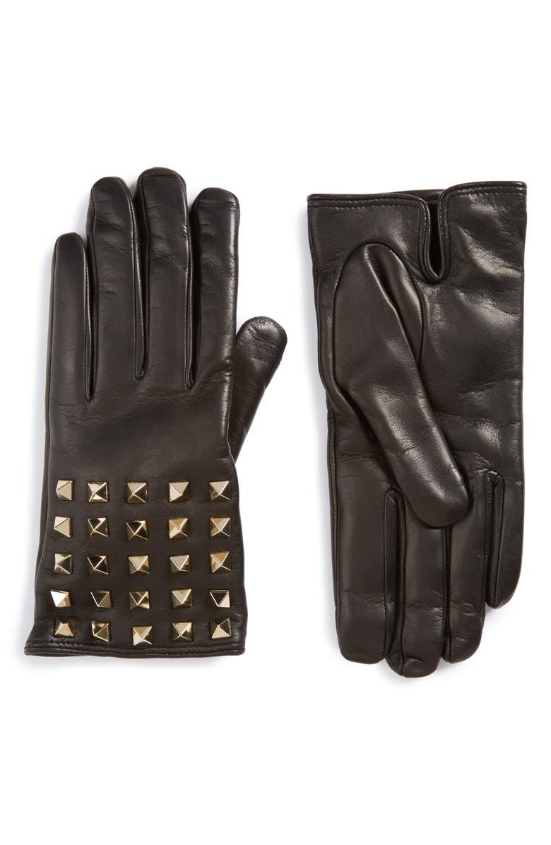 VALENTINO GARAVANI Rockstud Leather Gloves, Main, color, 001