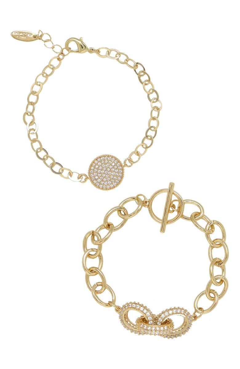 ETTIKA Set of 2 Pavé Bracelets, Main, color, GOLD