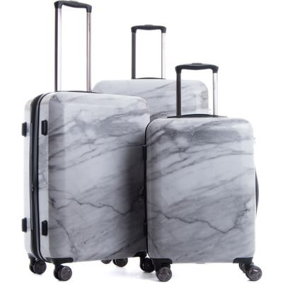 Calpak Astyll 3-Piece Marbled Luggage Set - White