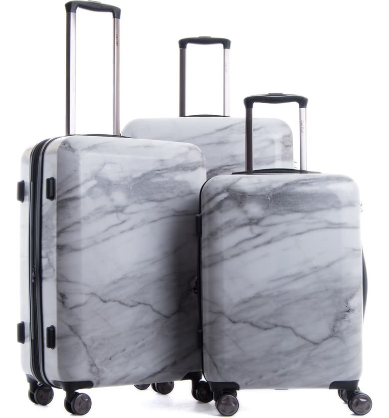 CALPAK Astyll 3-Piece Marbled Luggage Set, Main, color, WHITE