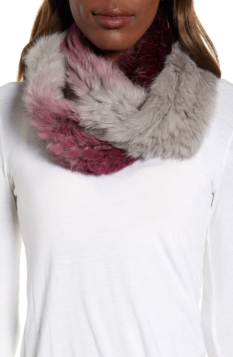 LOVE TOKEN Ombré Genuine Rabbit Fur Infinity Scarf, Main, color, BURGUNDY/ GREY