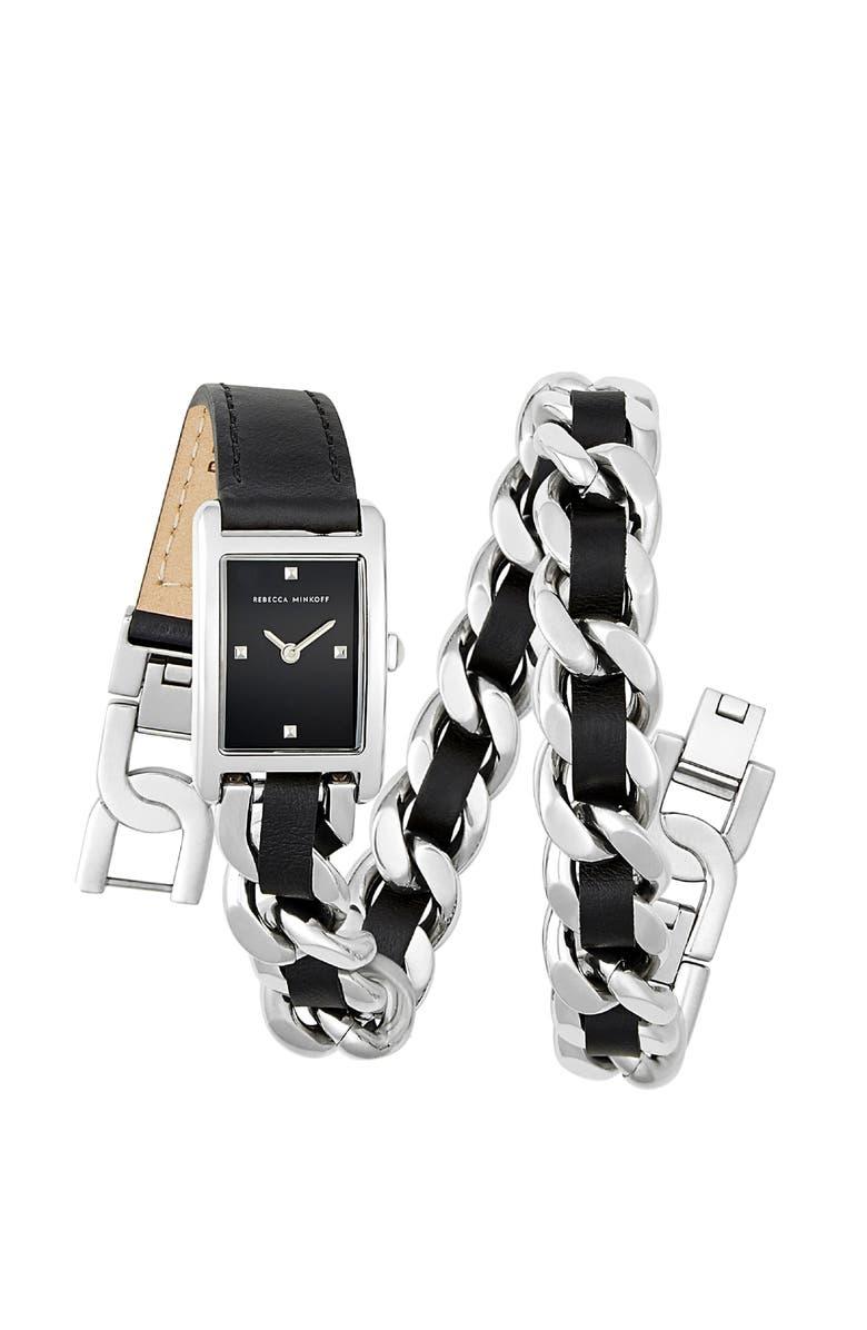 REBECCA MINKOFF Moment Chain Wrap Bracelet Watch, 30mm, Main, color, 001