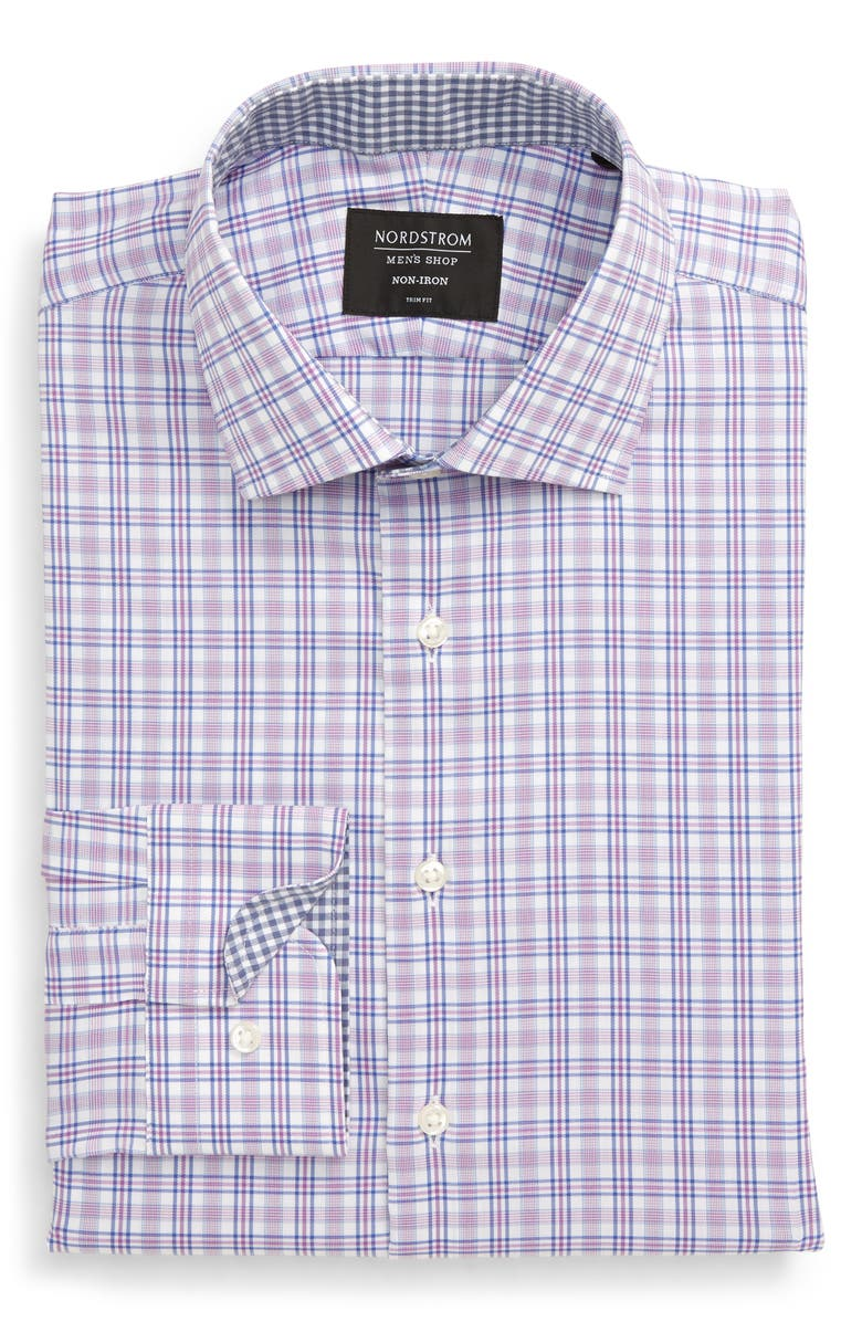 NORDSTROM MEN'S SHOP Trim Fit Non-Iron Stretch Plaid Dress Shirt, Main, color, PURPLE STRIKING