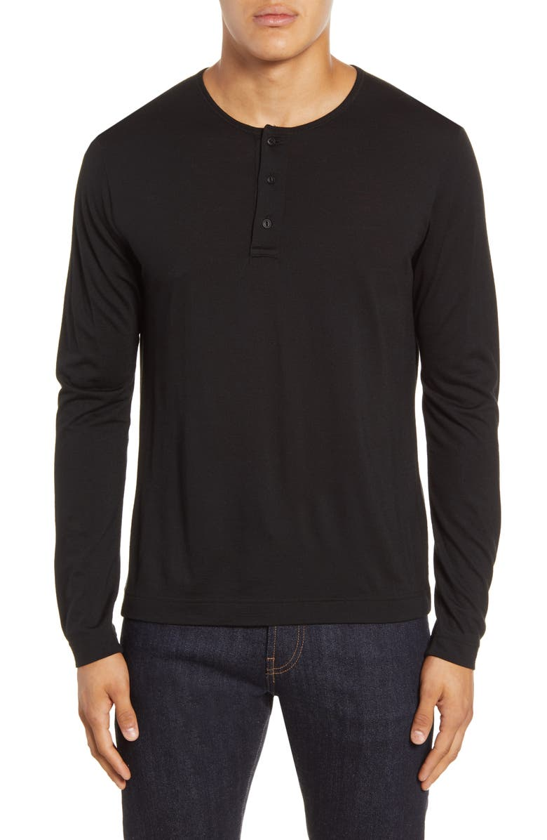 WINGS + HORNS Long Sleeve Wool & Silk Henley, Main, color, BLACK