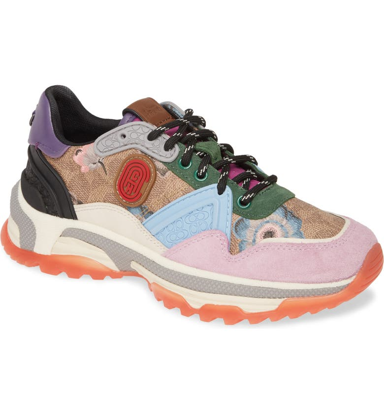 COACH x Kaffe Painted Mixed Media Runner, Main, color, PINK/ BLUE MULTI