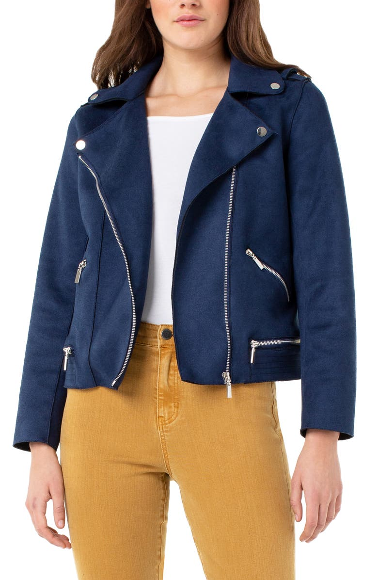 LIVERPOOL Faux Suede Moto Jacket, Main, color, NAVY