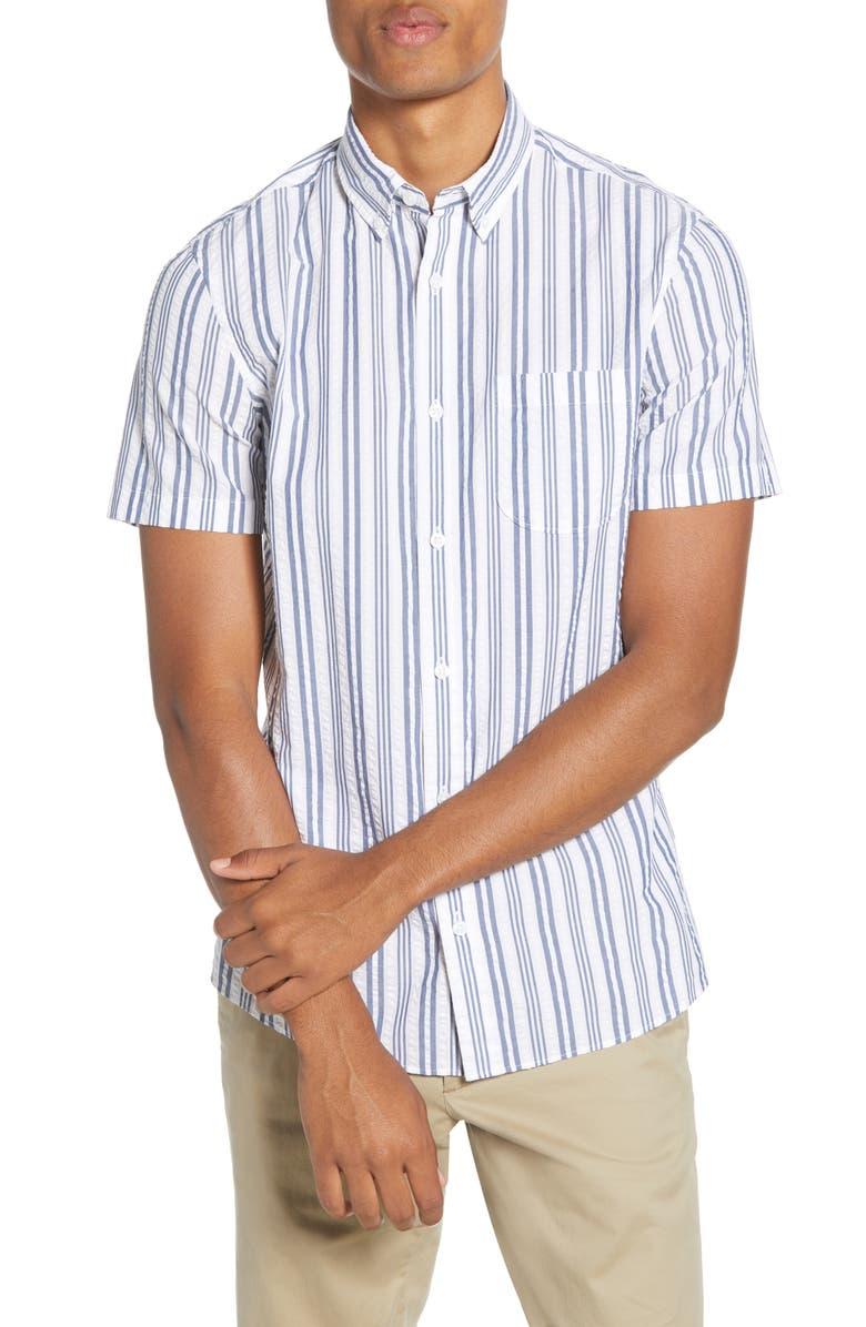 1901 Trim Fit Stripe Short Sleeve Button-Down Shirt, Main, color, WHITE NAVY MULTI STRIPE