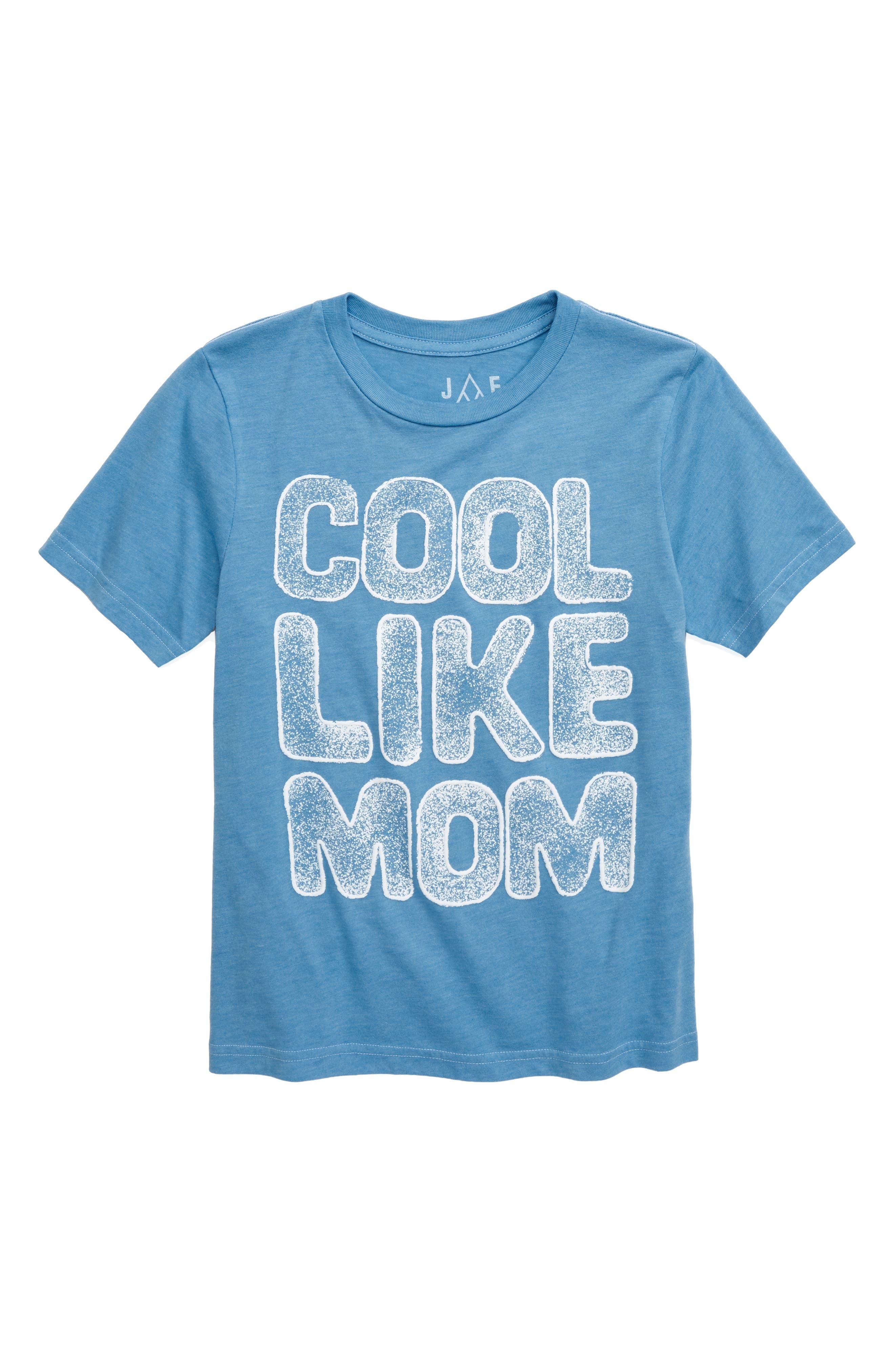 ,                             Cool Like Mom Glitter T-Shirt,                             Main thumbnail 1, color,                             BLUE