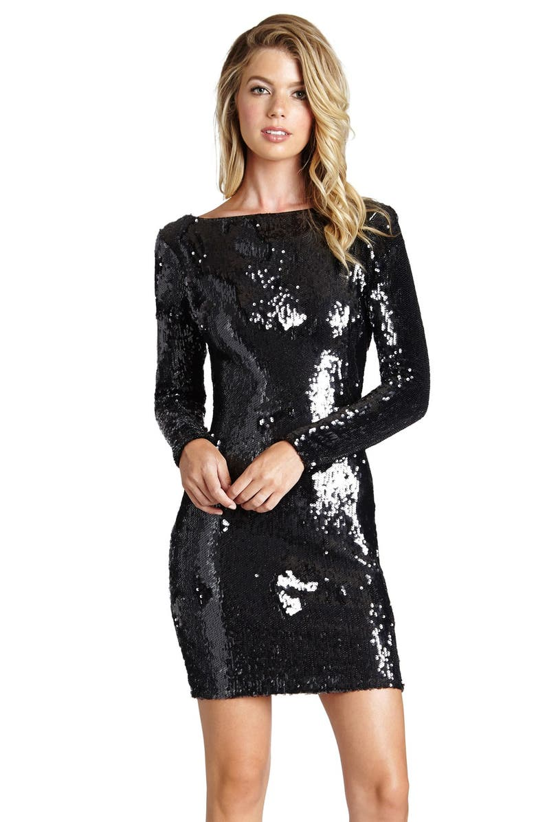 DRESS THE POPULATION Lola Sequin Minidress, Main, color, 001