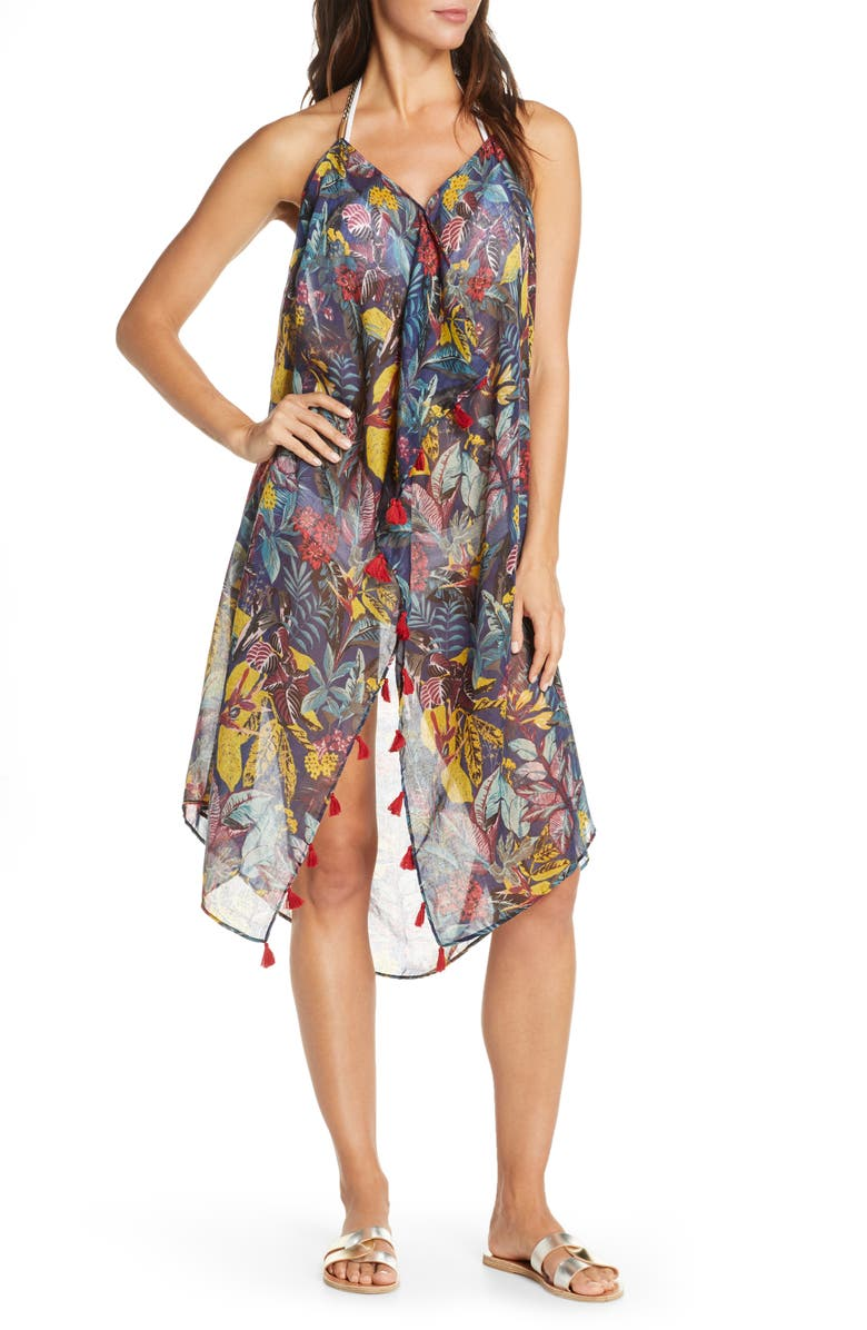 POOL TO PARTY Beach to Street Cover-Up Dress, Main, color, MULTI/ BLACK