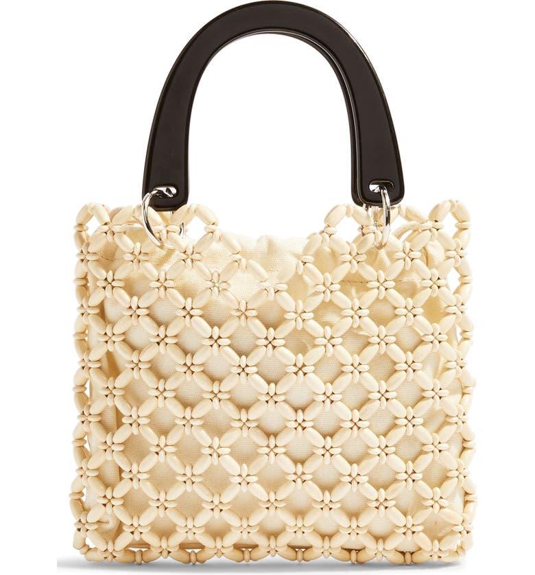 TOPSHOP South Bead Mini Tote Bag, Main, color, CREAM MULTI