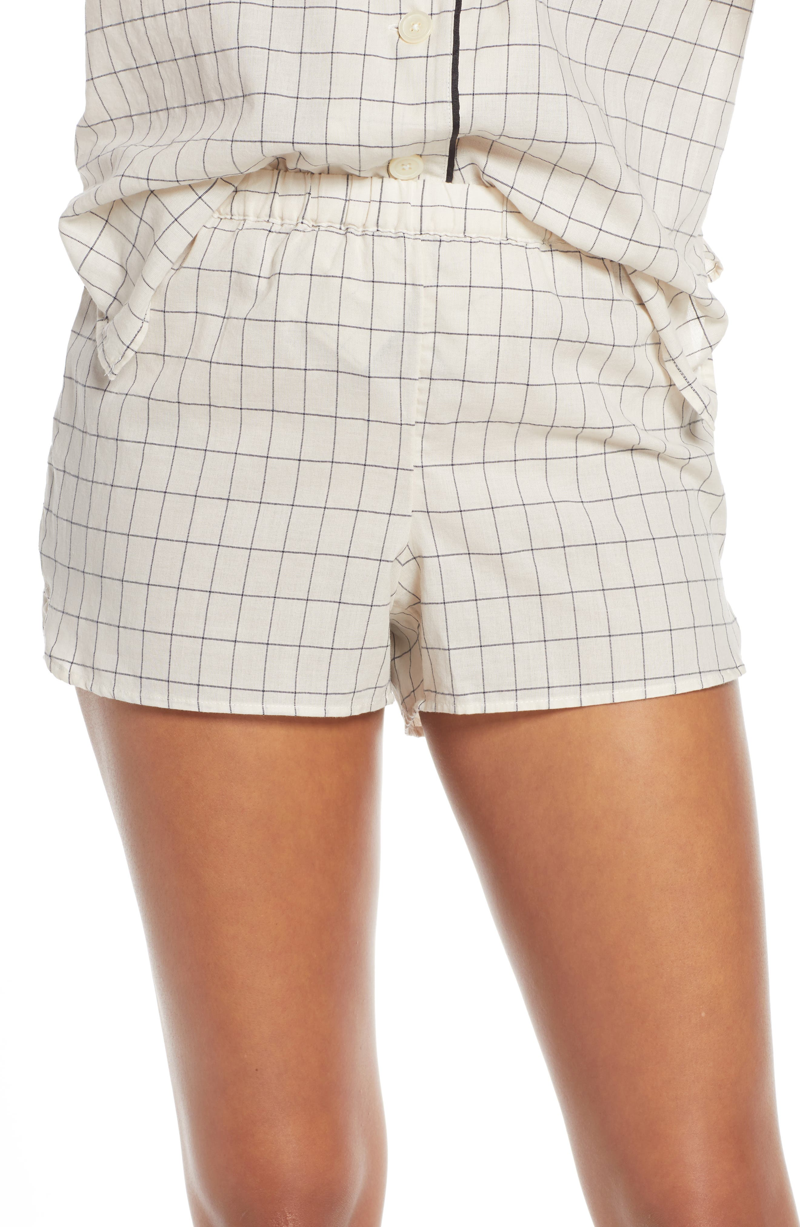 Madewell Windowpane Bedtime Pajama Shorts, Ivory