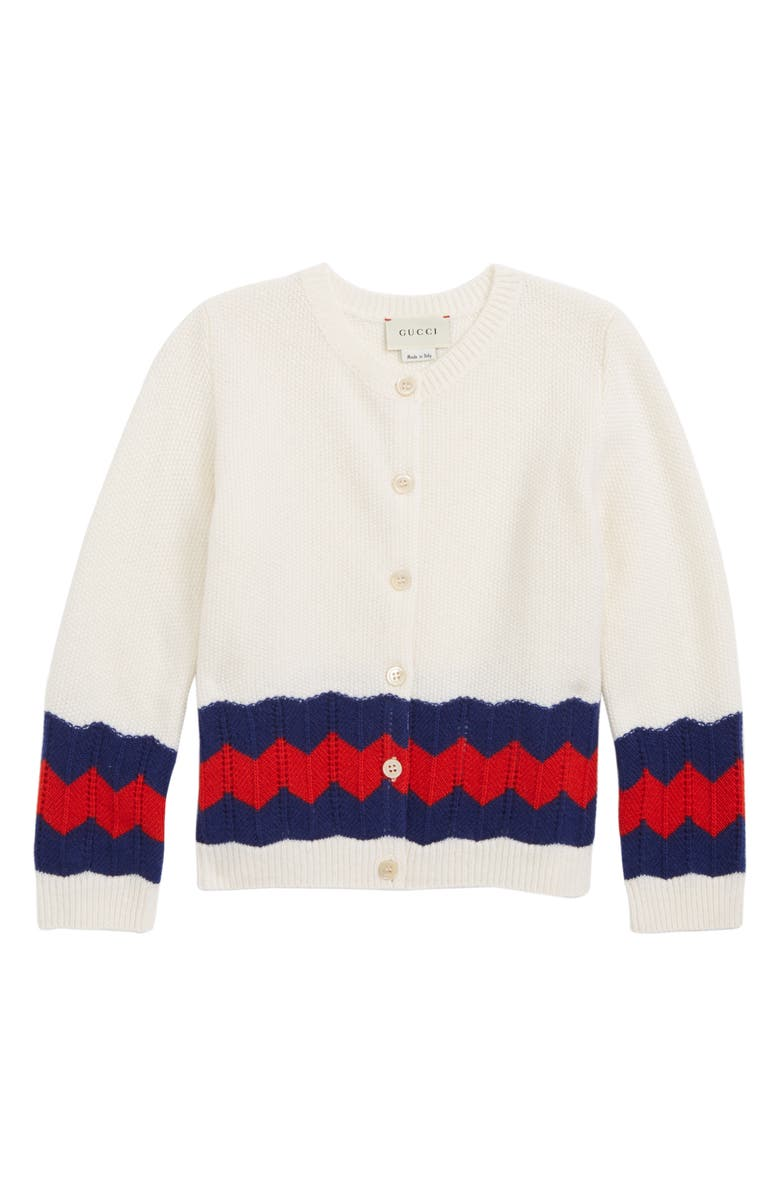 GUCCI Stripe Wool Cardigan, Main, color, WHITE/ COBALT/ RED