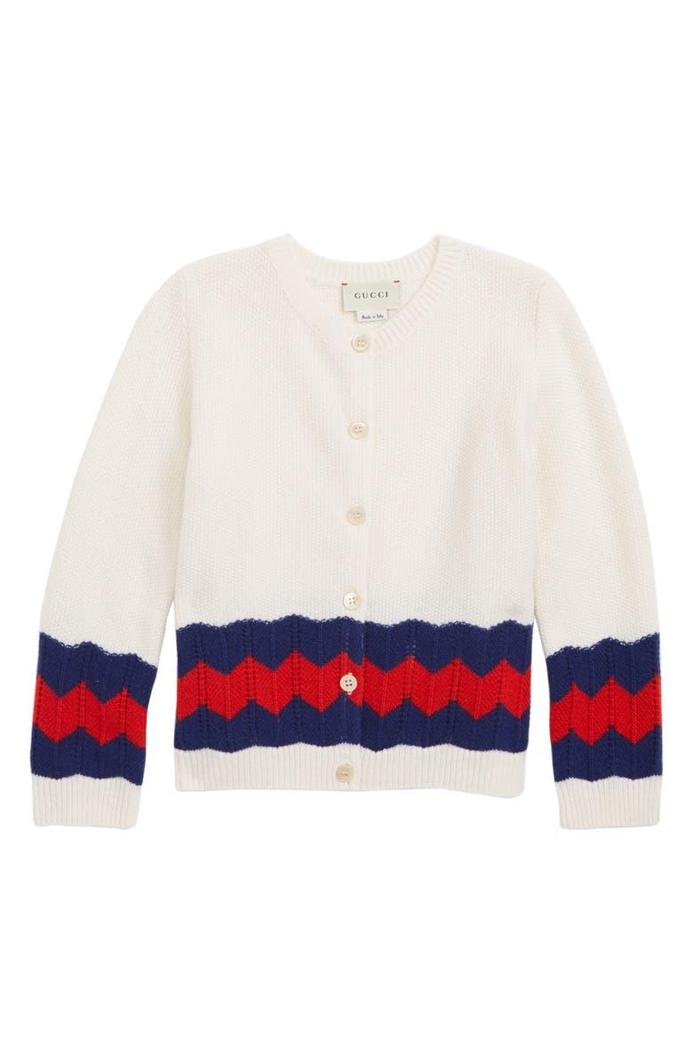 GUCCI Stripe Wool Cardigan, Main, color, 100
