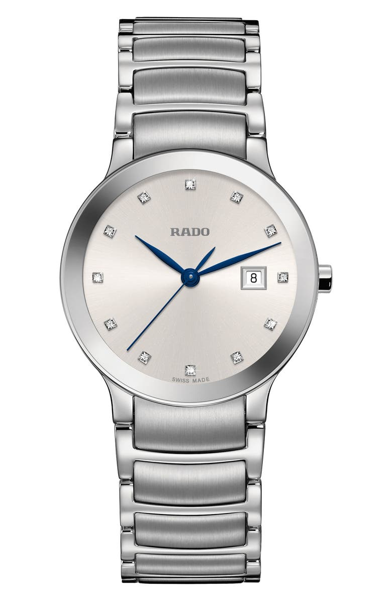 RADO Centrix Diamond Bracelet Watch, 28mm, Main, color, 040