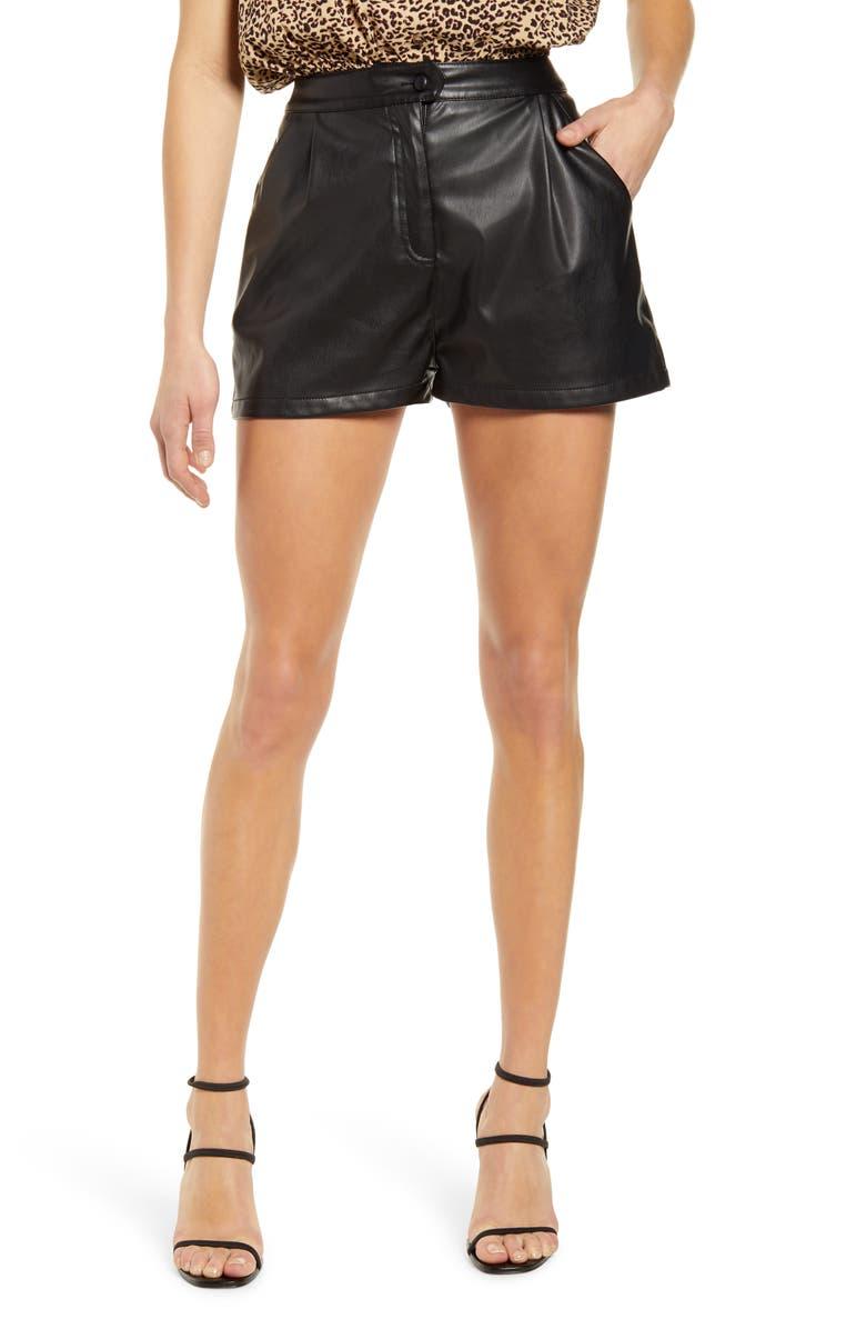 PROSPERITY DENIM Faux Leather Shorts, Main, color, BLACK