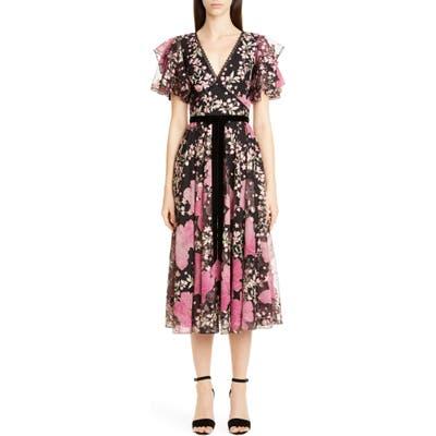 Marchesa Notte Embroidered Flutter Sleeve Midi Dress, Black