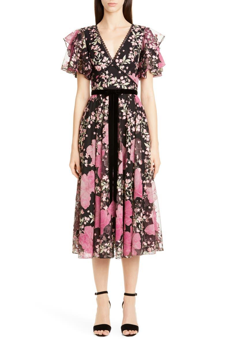 MARCHESA NOTTE Embroidered Flutter Sleeve Midi Dress, Main, color, BLACK