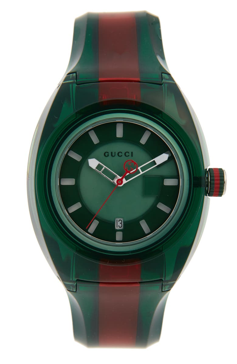 GUCCI Sync Transparent Rubber Strap Watch, 46mm, Main, color, GREEN