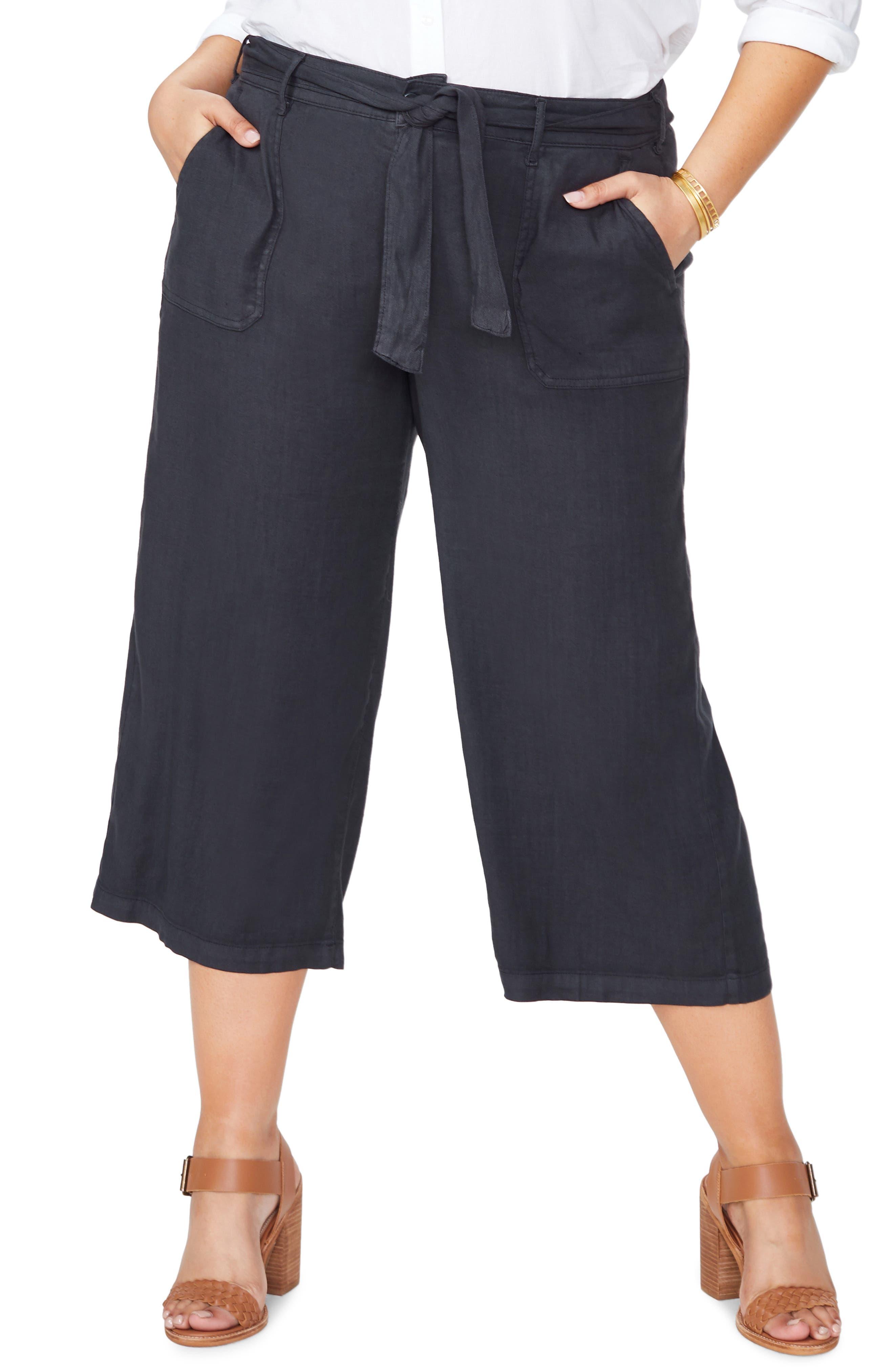 Plus Size Nydj Fashion Cargo Capri Pants, Black