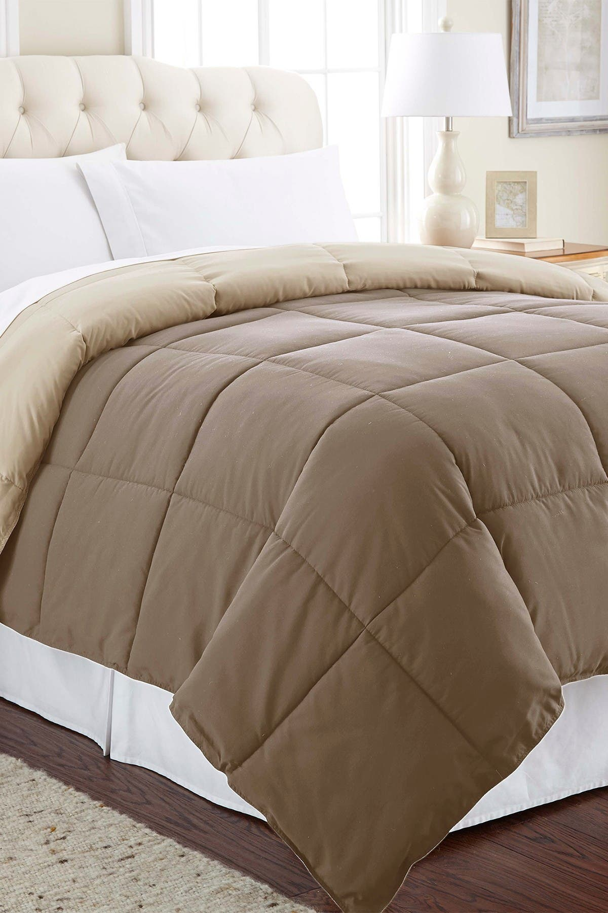 Image of Modern Threads Down Alternative Reversible Twin Comforter - Stone/Champagne
