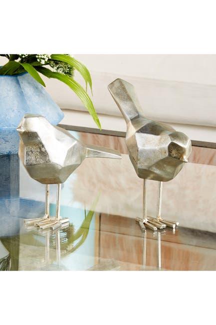 Image of CosmoLiving by Cosmopolitan Large Modern Style Metallic Silver Bird Figurines - Set of 2