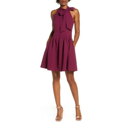 Petite Vince Camuto Kors Crepe Fit & Flare Minidress, Purple