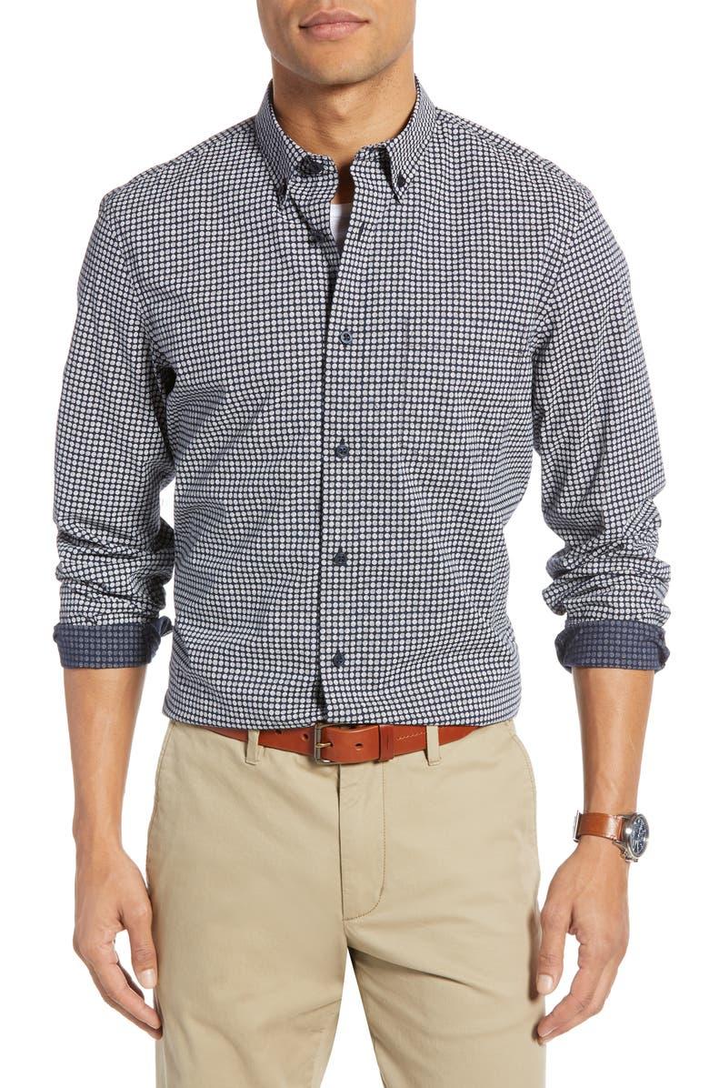 1901 Dot Print Cotton Button-Down Shirt, Main, color, NAVY IRIS WHITE DOT