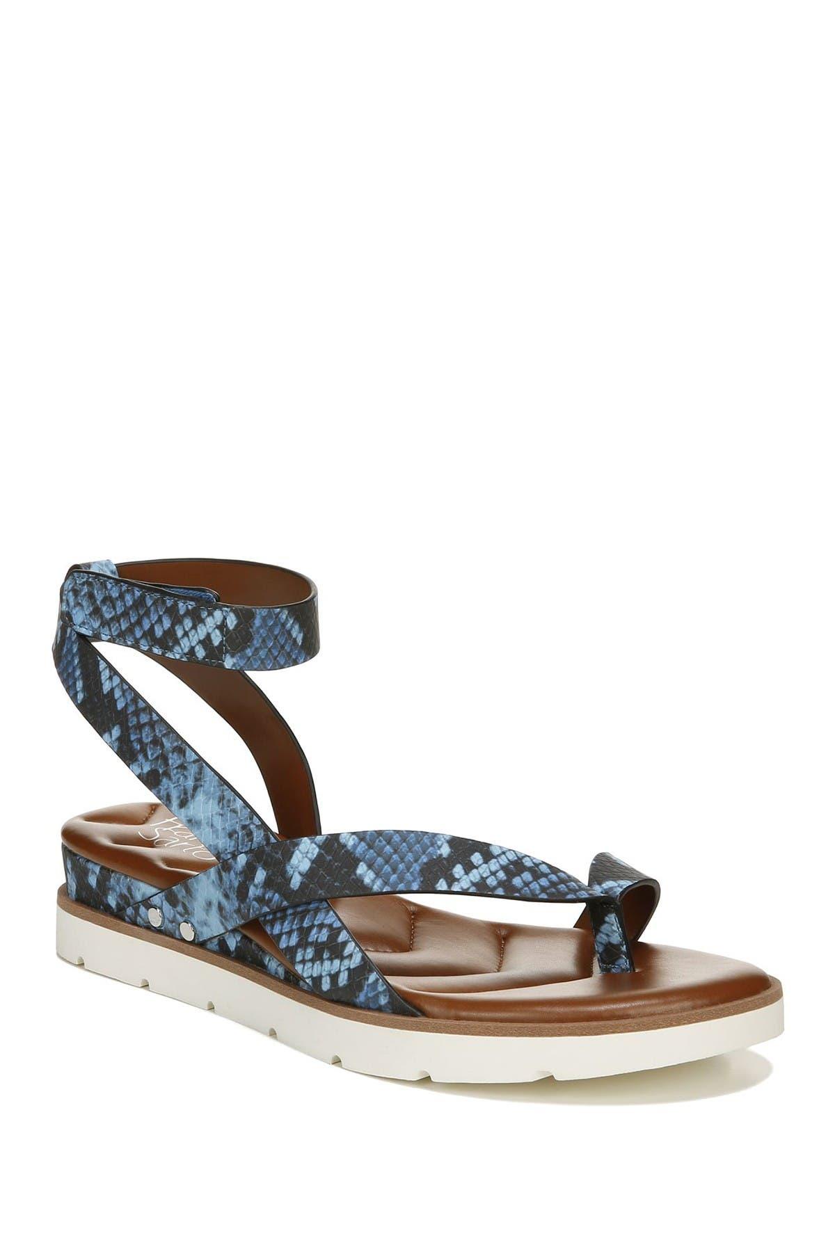 Image of Franco Sarto Delria Snake Embossed Ankle Strap Sandal