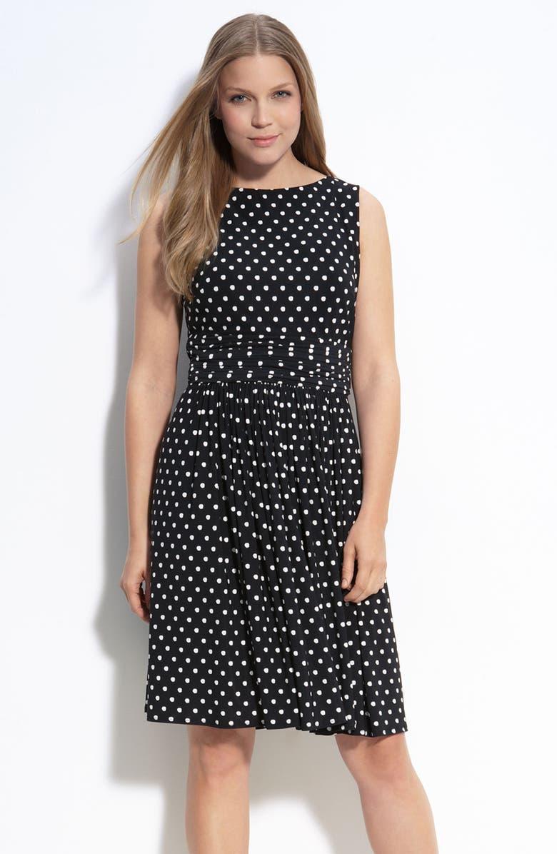 TAYLOR DRESSES Polka Dot Jersey Dress, Main, color, 001