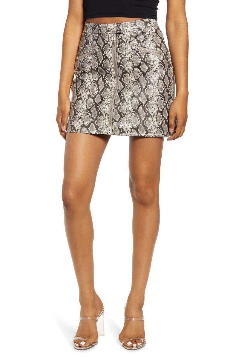 BLANKNYC Faux Leather Snakeskin Miniskirt, Main, color, BREAK AWAY
