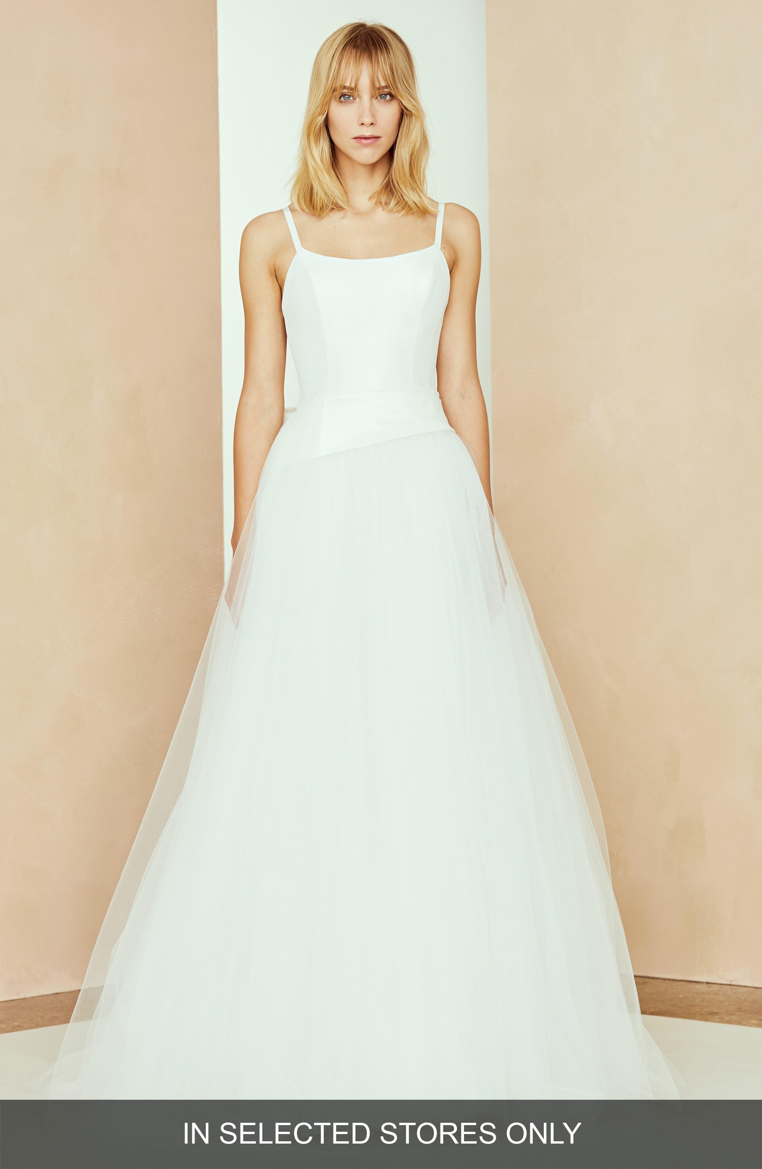 Nouvelle Amsale Lilah Bow Back Taffeta & Tulle Ballgown, Size - White