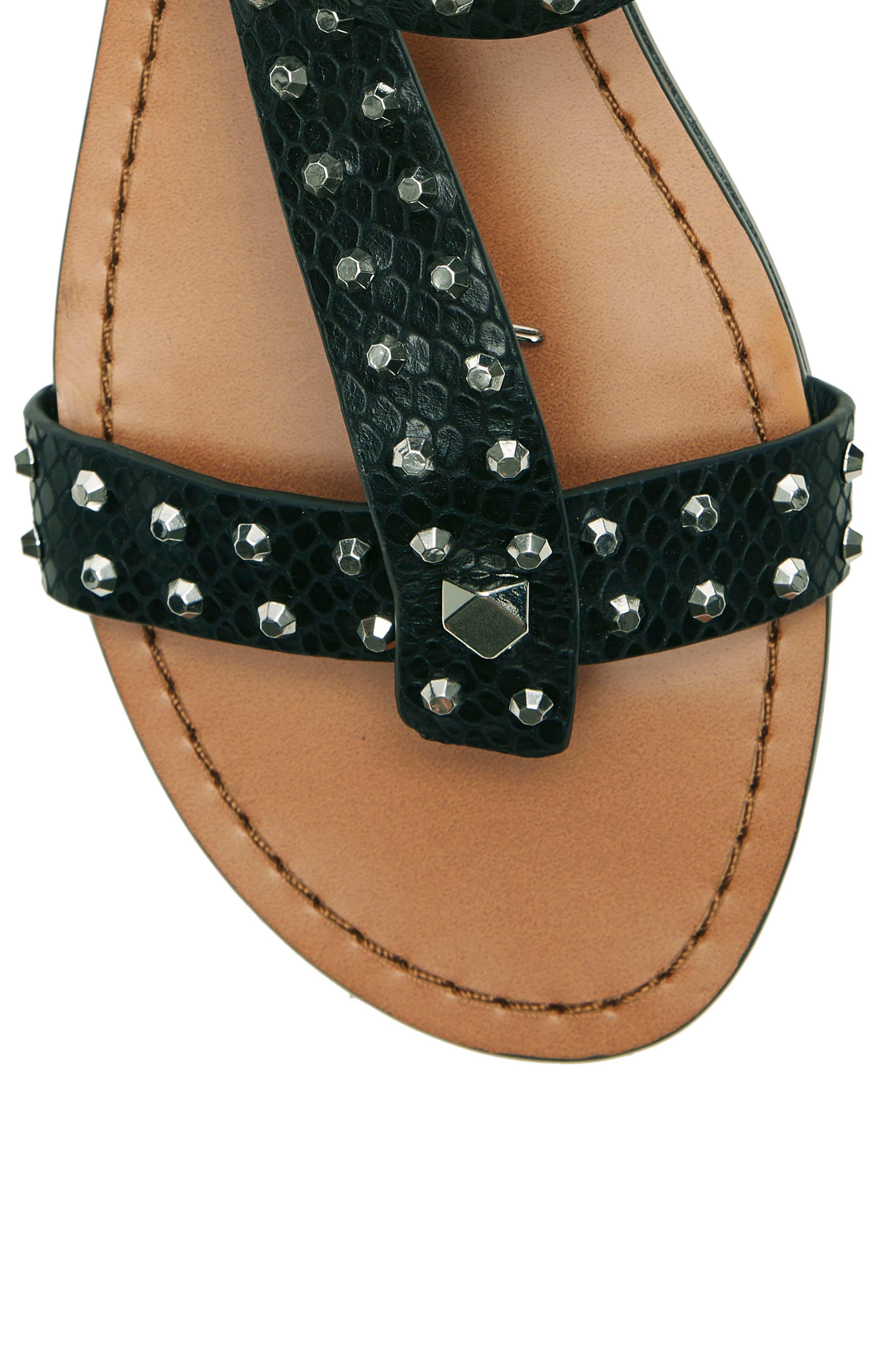 ,                             Ravensa Studded Sandal,                             Alternate thumbnail 8, color,                             BLACK LEATHER
