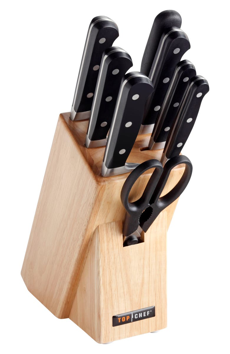 TOP CHEF Premier 9-Piece Knife Block Set, Main, color, BLACK