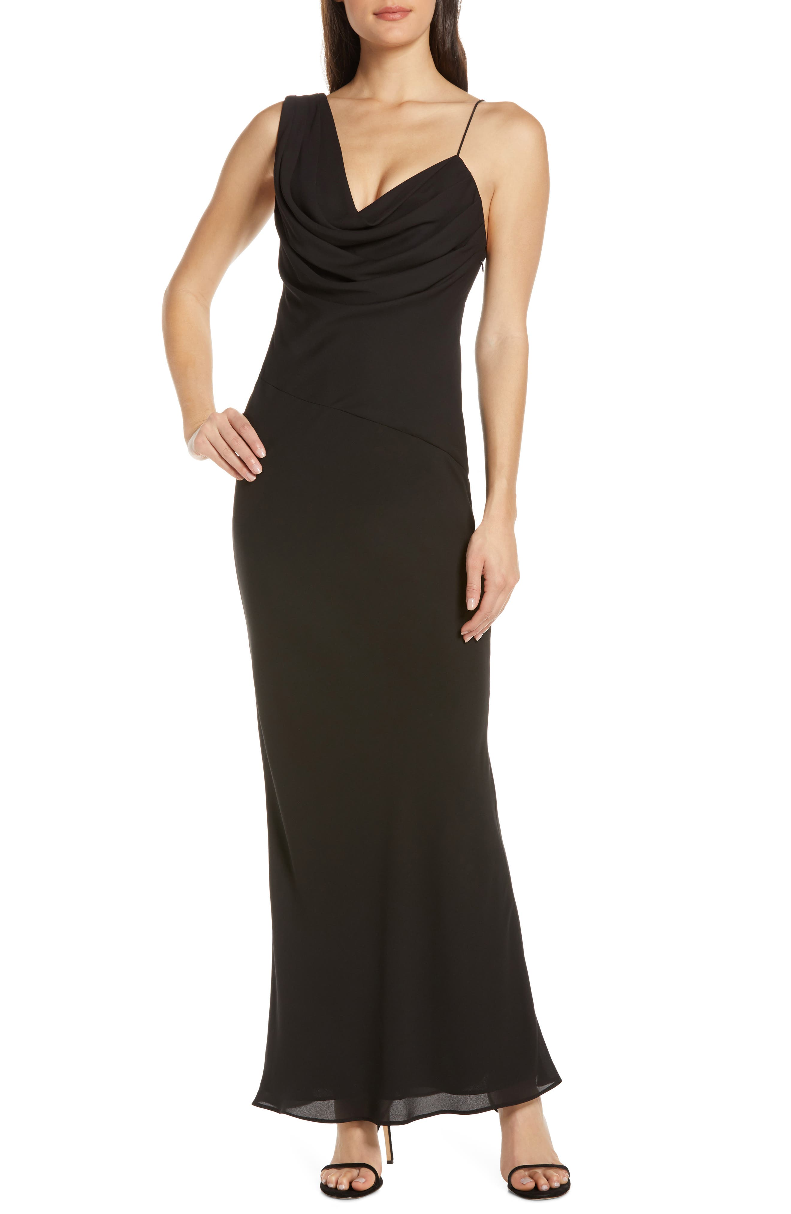 Fame And Partners Drape One-Shoulder Gown, Black