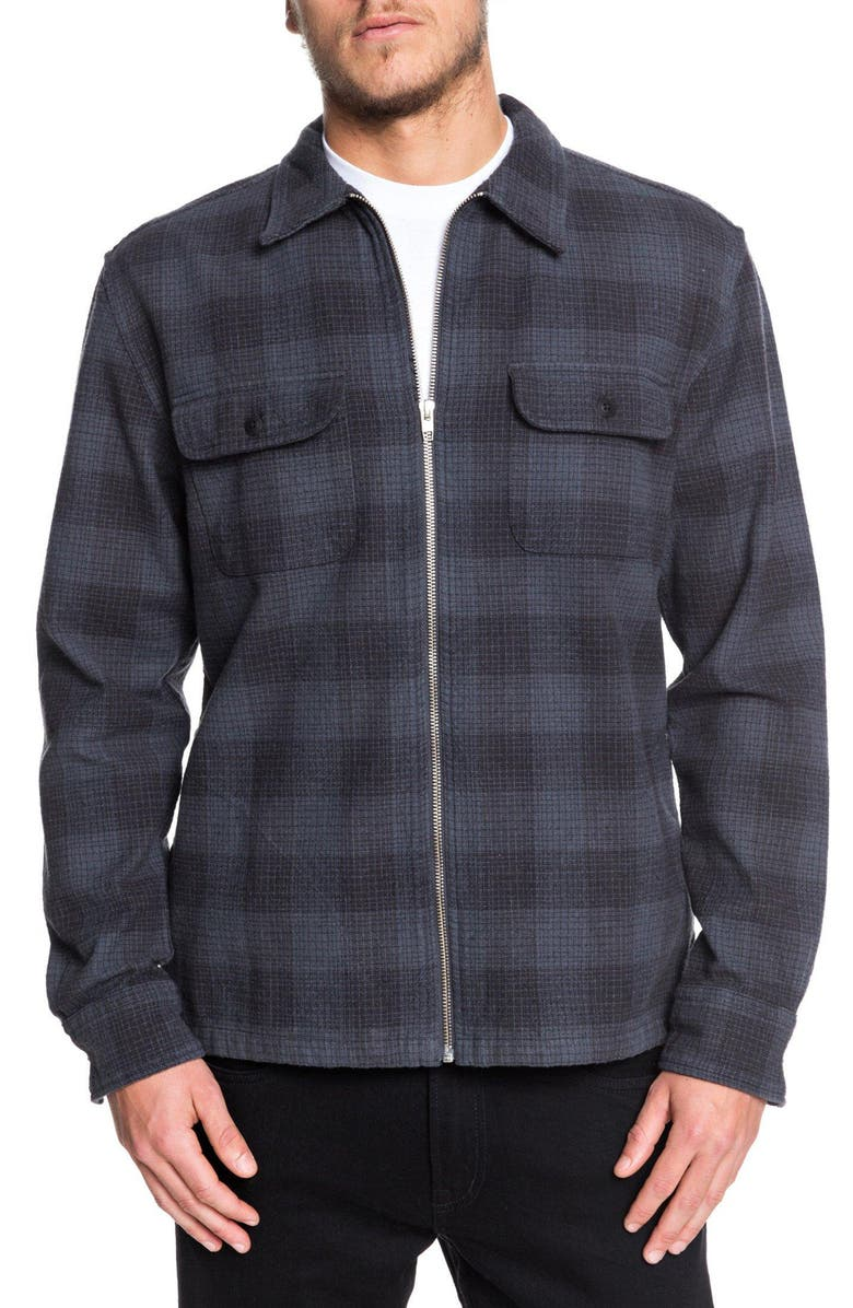 QUIKSILVER Bitter Springs Plaid Zip-Up Shirt Jacket, Main, color, TARMAC BITTER SPRINGS