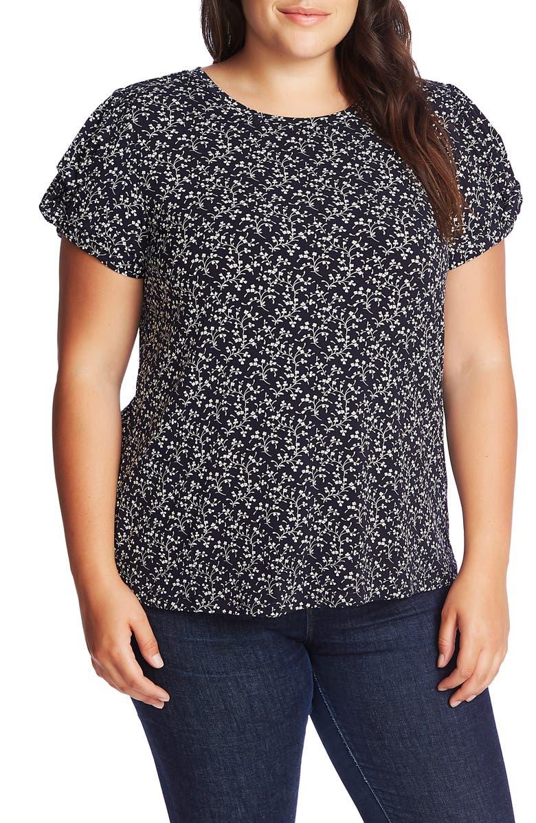 CECE Floral Print Twist Sleeve Top, Main, color, CAVIAR