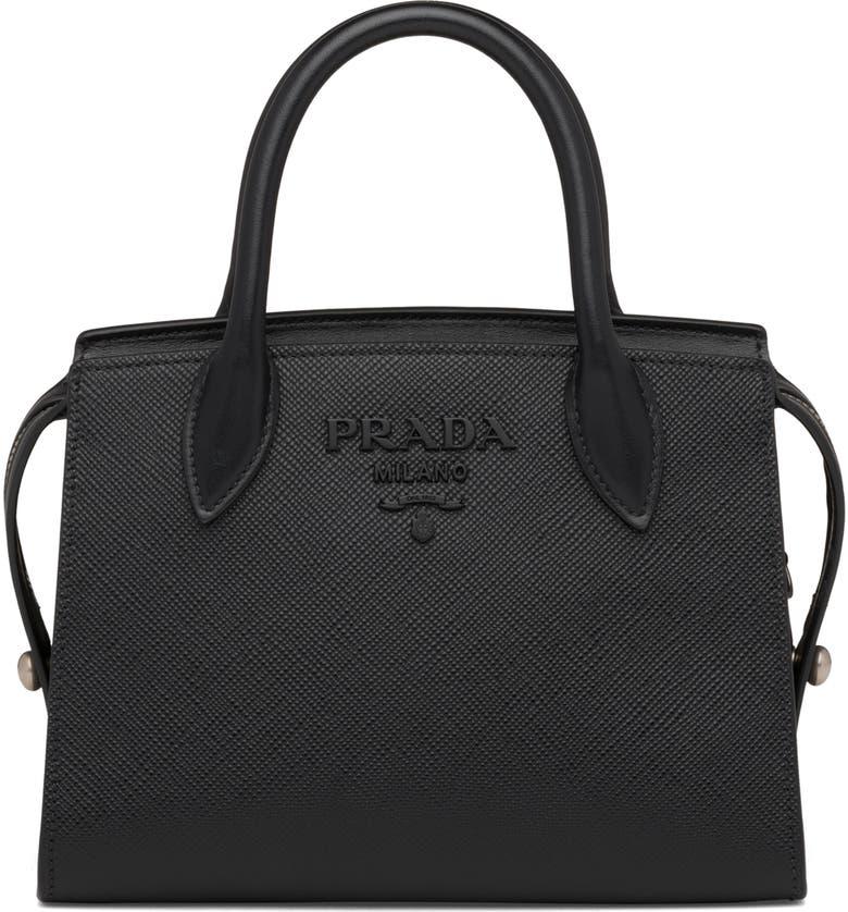 PRADA Small Monochrome Saffiano Leather Bag, Main, color, NERO