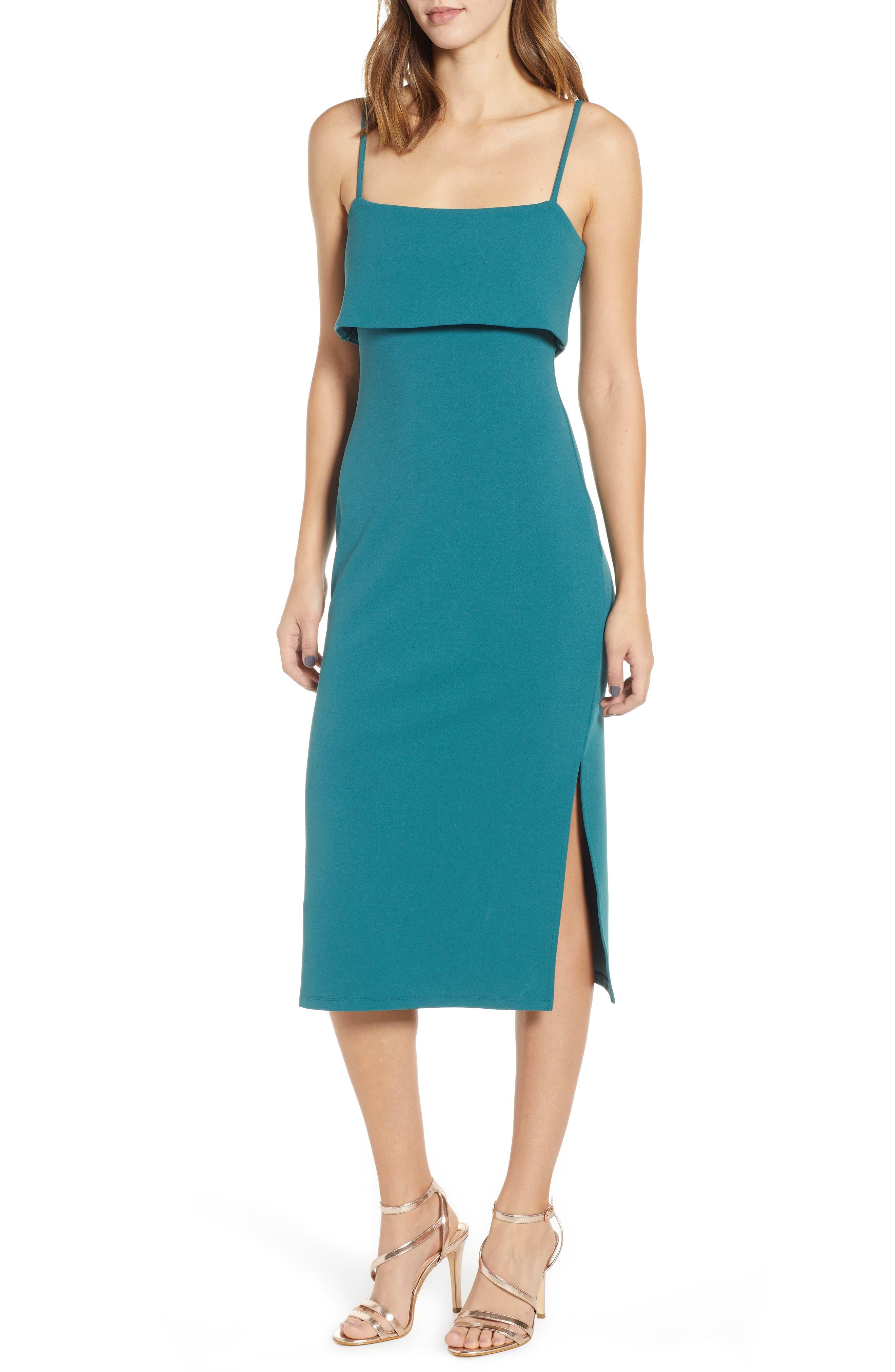 Leith Sleeveless Midi Dress, Blue/green
