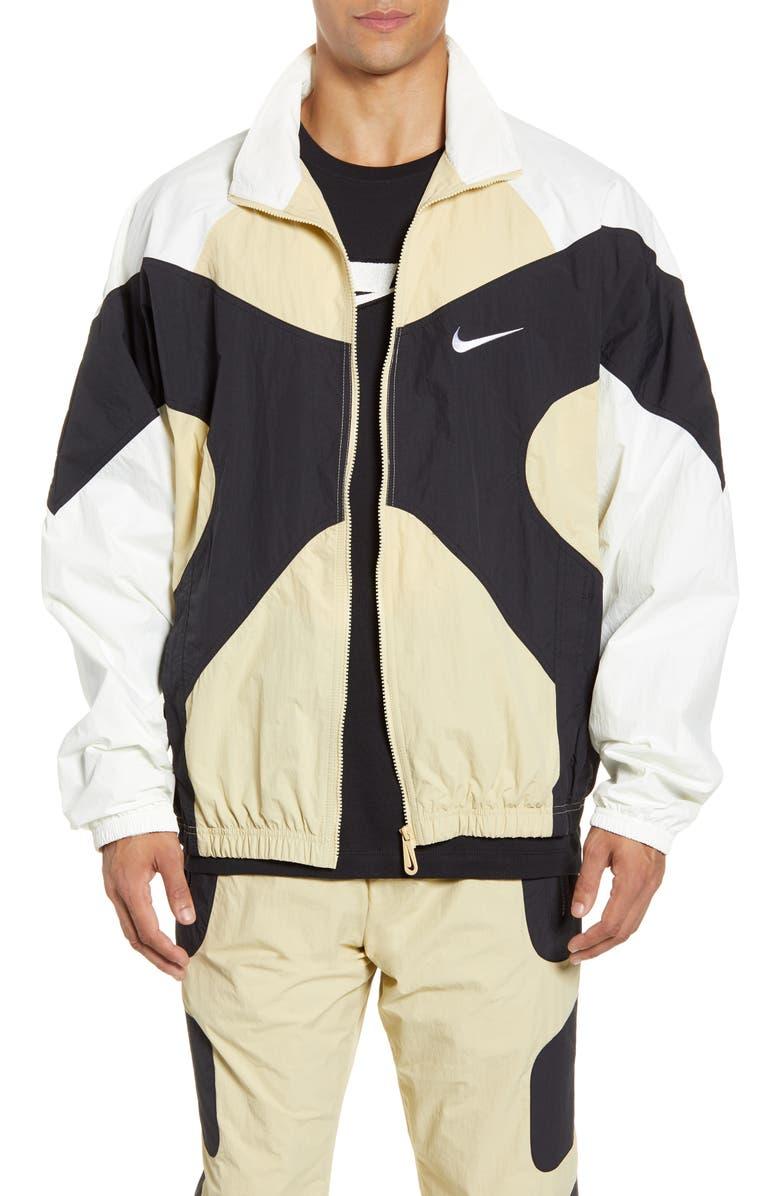 NIKE Colorblock Nylon Jacket, Main, color, TEAM GOLD/ SAIL/ BLACK/ WHITE