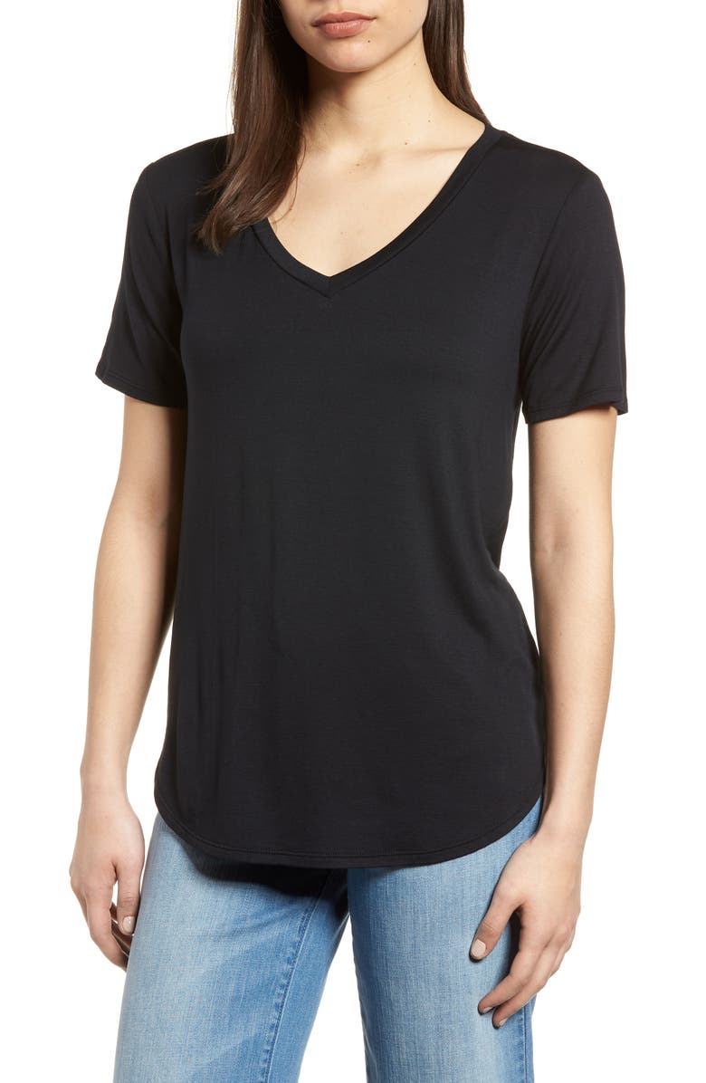 GIBSON x Living in Yellow Felicity V-Neck Tee, Main, color, 001